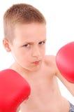 Little boy boxer. Isolated on white Stock Photos