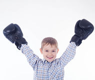 Little boy boxer. On the white background Royalty Free Stock Images