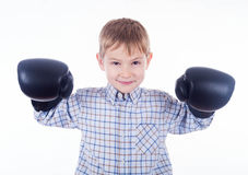 Little boy boxer. On the white background Royalty Free Stock Image
