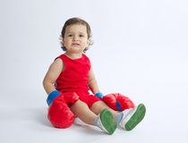 Little boy with boxing gloves Royalty Free Stock Images