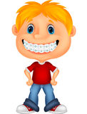 Little boy with brackets Stock Image