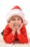 Little Boy bärande jul Santa Hat Arkivfoton