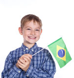 A little boy with brazilian flag Royalty Free Stock Photos