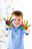 Little boy and bright colors stock photos