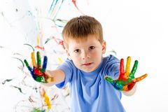 Little boy and bright colors Royalty Free Stock Photo