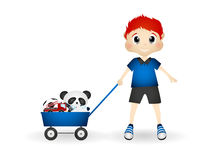 Little boy bring his toys with cart. Full colur Royalty Free Stock Photos