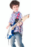 Little boy britpop style with electoguitar eyes closed Stock Photography