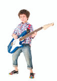 Little boy britpop style with electoguitar full body Royalty Free Stock Images