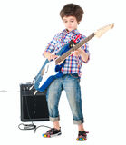 Little boy britpop style with electoguitar and guitar combo full. Body isolated on white Stock Photo