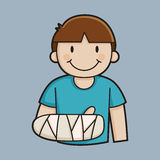 Little Boy With a Broken Arm. Illustration royalty free illustration
