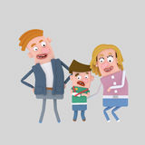 Little boy with broken arm with parents Royalty Free Stock Image