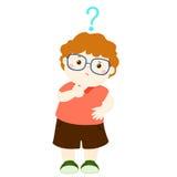Little boy brown hair wear glasses  wondering cartoon character Royalty Free Stock Photos