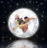 The little boy and brown pelican fly  against the full moon in night sky Stock Image