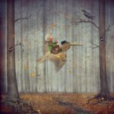 The little boy and brown pelican fly in autumn forest. The little boy and brown pelican fly in the autumn forest vector illustration