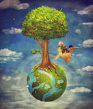 The little boy and brown pelican fly in the sky with  beautiful. Woodland scene with big tree and small planet Stock Photography