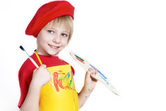 Little boy with brush and Artist's palette Royalty Free Stock Photos