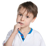 Little boy brushing her teeth Royalty Free Stock Photos