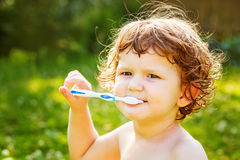 Little boy brushing her teeth in green background Stock Photos