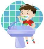 Little boy brushing his teeth royalty free illustration