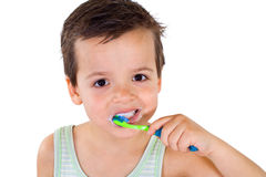 Little boy brushing teeth Stock Photo