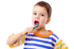 Little boy brushing teeth Royalty Free Stock Photos