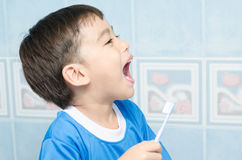 Little Boy Brushing Teeth for dental healthcare Royalty Free Stock Photos
