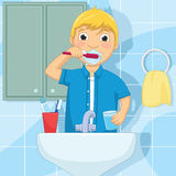 Little Boy Brushing Teeth Vector Illustration. 