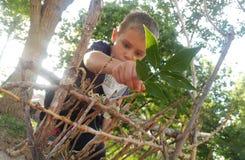 Little Boy Building A Fairy House