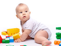Little boy with building bricks Royalty Free Stock Images