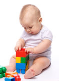 Little boy with building bricks Royalty Free Stock Photography