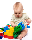 Little boy with building bricks Stock Image