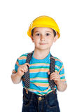 Little boy with a building helmet Royalty Free Stock Photo