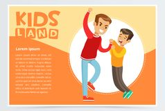 Little boy bullying by teenager, demonstration of school teenage bullying and aggression towards other child, kids land. Banner flat vector element for website Stock Image