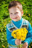 Little boy with bunch of dandelions Royalty Free Stock Photography