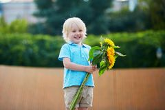 Little boy with bunch of sunflowers outdoors Royalty Free Stock Photos