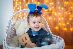 Little boy in bunny ears royalty free stock photos