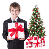 Little boy in business suit with gift box and christmas tree iso Royalty Free Stock Photography