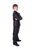Little boy in business suit isolated on white. Background Royalty Free Stock Images