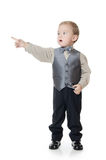 The little boy in a business suit shows a finger Stock Image