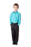 Little boy in business suit standing isolated on white Stock Photography