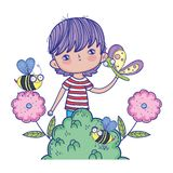 Little boy with butterfly and bees in the landscape. Vector illustration design vector illustration