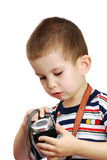 The little boy with the camera Royalty Free Stock Photography