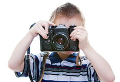 Little boy with a camera in his hands Royalty Free Stock Photos