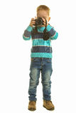 Little boy with the camera stock photo
