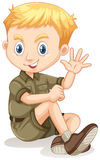 Little boy in camping outfit waving Stock Images