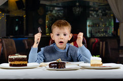 Little boy cannot believe his luck Stock Images