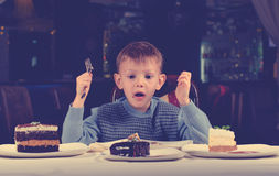 Little boy cannot believe his luck Royalty Free Stock Photography
