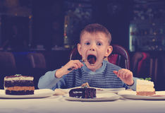Little boy cannot believe his luck Royalty Free Stock Images