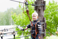 Little boy at a canopy tour Stock Photos