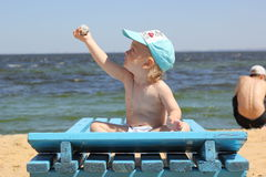 Little boy in cap on the beach Royalty Free Stock Photo